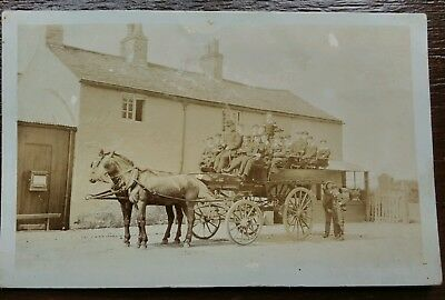 Horse And Carriage School Transport Social History Postcard