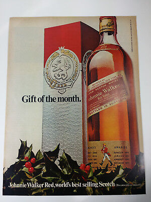 1968 Johnnie Walker Red Scotch Vintage Magazine Print Ad Advertisement Liquor