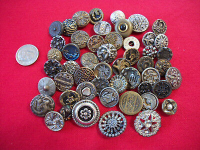 50 Antique Vtg Small Metal Buttons Victorian + More Craft Collect  #B7