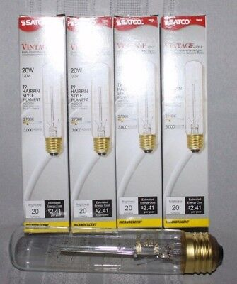 New Lot of 4 Light Bulbs  Vintage Hairpin Style 20 Watt  Satco