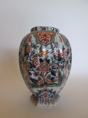 Antique 18th c Dutch Delft pottery marked polychrome ribbed vase with birds