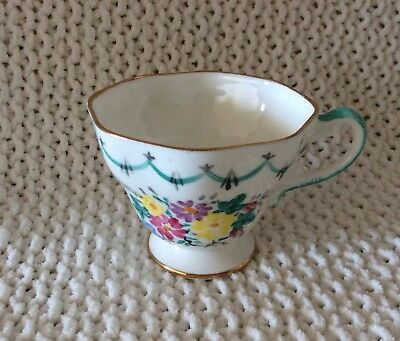 E B FOLEY BONE CHINA TEACUP - FLOWERS and garland - highly collectable