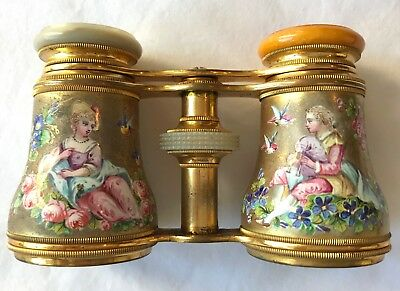 Gorgeous Antique French Enameled Opera or Theater Glasses, c1880
