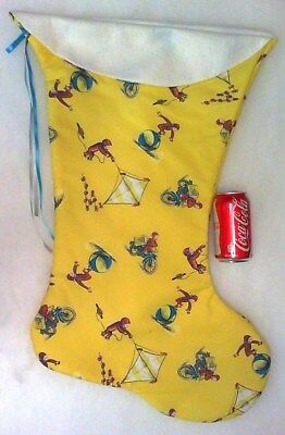 Giant Christmas Stocking Classic Curious George Yellow Print Handmade & New