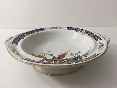 Antique Wood & Sons Ironstone Bird of Paradise Serving Bowl, Made in England
