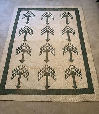 Vintage 1930s Green White Pine Tree of Life QUILT Border Heavily Stitched