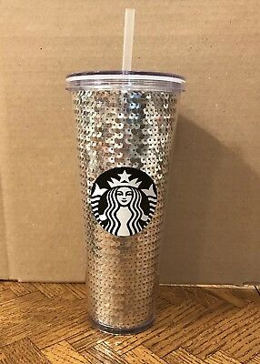 Starbucks 2017 Sequins Silver 24 oz Cold Drink Limited Edition Tumbler