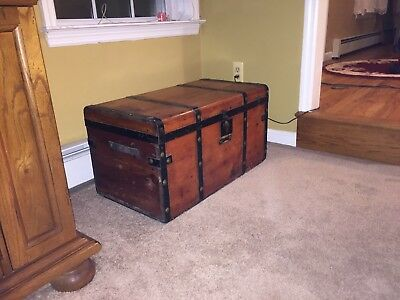 "Antique Steamer Trunk Vintage Flat Top Pine & Iron Stagecoach Chest 28""x16""x15"""