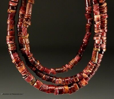 158) Ancient Pre Columbian Moche or Chimu Purple Spondyllus Beads Necklace