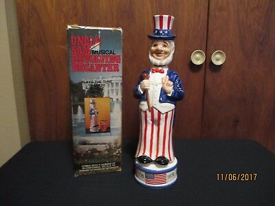 Vintage 70's Uncle Sam Musical Revolving Decanter plays Yankee Doodle Dandy box