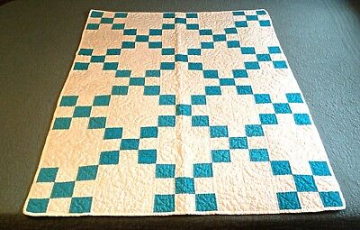 """Vintage Pennsylvania Hand Stitched Blue and White Cotton Crib Quilt/33""""x46"""""""