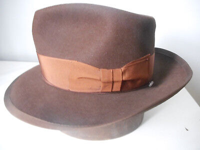 STUNNING Vintage 50's KEMPTON FEDORA, Brown, 7 1/8th fits to a small 7 ¼