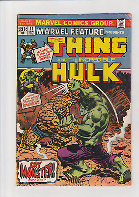 Marvel Feature #11 G+ Marvel comic 1973 1st solo Thing  Hulk battle