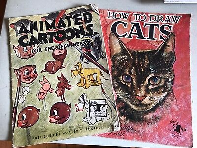 2 X Walter Foster Drawing Books Animated Cartoons/how To Draw Cats