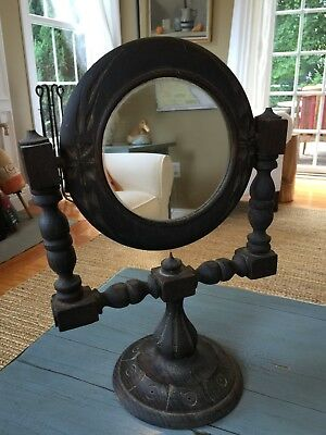 Antique Shaving Mirror Carved Wood