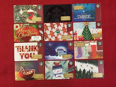 12 New Starbucks 2017 Christmas Holiday Gift Cards Lot With No Strip On Reverse
