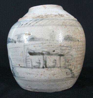 Qing Dynasty Porcelain China Trade Export Blue/Wht Ginger Jar Landscape Vase yqz