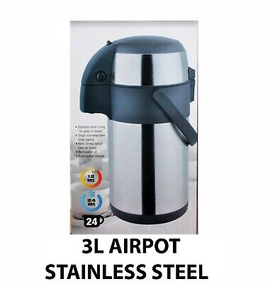 3L Litre Stainless Steel Pump Action Airpot Hot & Cold Tea Coffee Flask New 131C