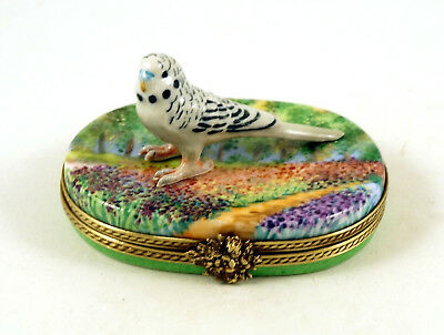 New French Limoges Trinket Box Parakeet Budgie Budgerigar In Beautiful Garden