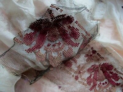 Rare Antique Victorian Chenille Velvet Embroidery Netting Lace Tulle Flower Trim