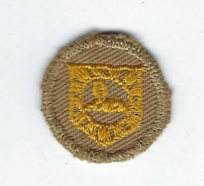 "US Army Military Intelligence Sew On Collar Disk Khaki Enlisted WW2 1"" Diameter"