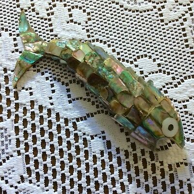 Vintage Abalone Mother of Pearl & Silver Articulated Fish Bottle Opener