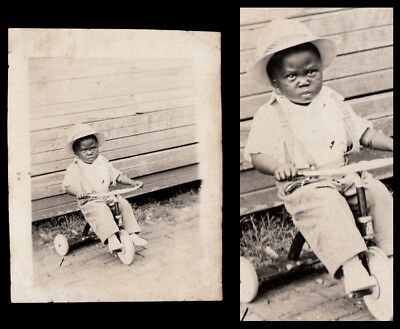 STOIC OLD MAN FACE LITTLE BLACK BOY on TOY TRICYCLE ~ 1930s VINTAGE PHOTO!