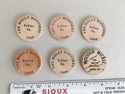 Set of 6 Molly Maguires, Eckley Pennsylvania Wooden Nickles