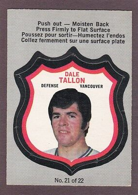 1972-73  Opc, O-Pee-Chee, Player Crests  # 21  Dale Tallon  ( Exmt )