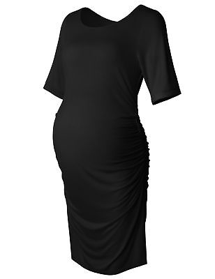 Bhome Maternity Bodycon Dress Short Sleeve Ruched Sides Knee Length Shirred D...