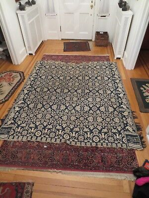 Early Antique Overshot Jacquard Civil War Era Coverlet Fulton County 1862