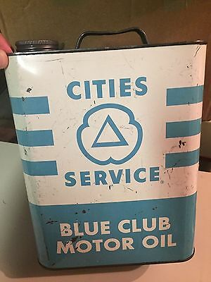 Nice Vintage 2 Gallon Cities Service Blue Club Motor Oil Can