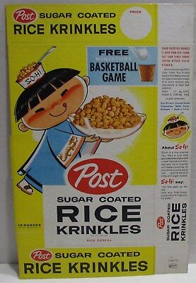 1960's Rice Krinkles Cereal Box with So-Hi, Basketball  Shooter Offer