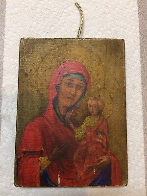 Antique 19th/early 20th century Russian Icon Painting Mary & Jesus, on Wood