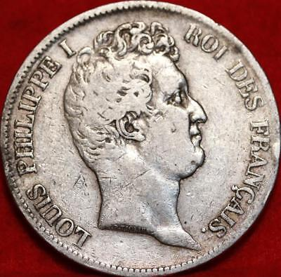 1831 France 5 Francs Silver Foreign Coin Free S/H