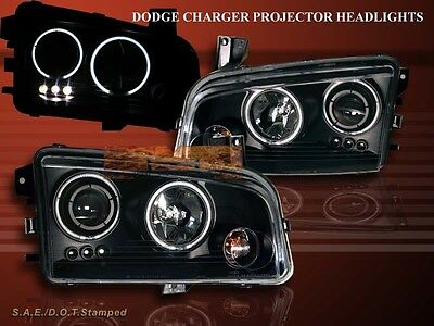 2006-2008 Dodge Charger Twin Halo Ccfl Led Black Projector Headlights