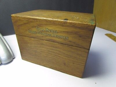 Vintage Gold Medal Flour Advertising Wooden Recipe Box With Recipes