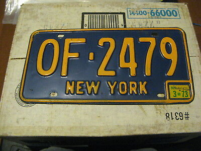 1973 73 New York Ny License Plate Blue Base # Of-2479 Natural Sticker