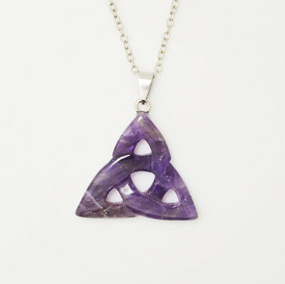 Fashion Natural Gemstones Celtic Triquetra Trinity Knot Pendant Necklace 7Styles
