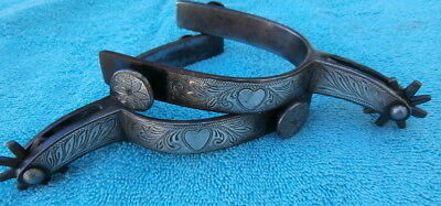Vintage Engraved Sterling Silver Heart Cowgirl Spurs some Bluing
