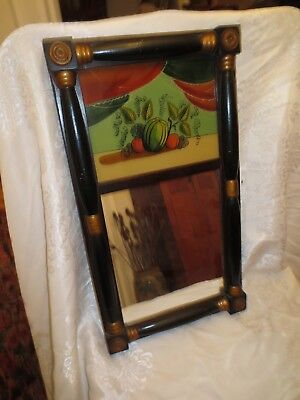 Old Early Antique Federal Split Column Reverse Painting Mirror