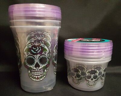 Sugar Skull Reusable Storage Containers Set of 7 NEW Day of the Dead Kitchen