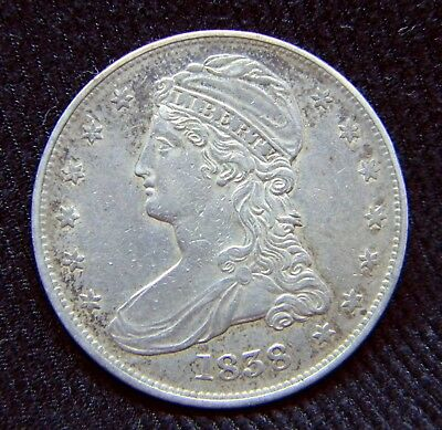 1838 Reeded Edge Capped Bust Half Dollar 50C ** Light Toning, lightly circulated