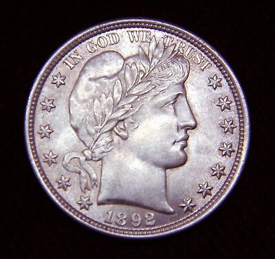 1892 Barber Silver Half Dollar - 50C ** Great Coin**  **Mint Luster**