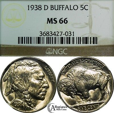 1938-D/D 5c Buffalo Nickel NGC MS66 rare old type coin money FS-513 Overdate