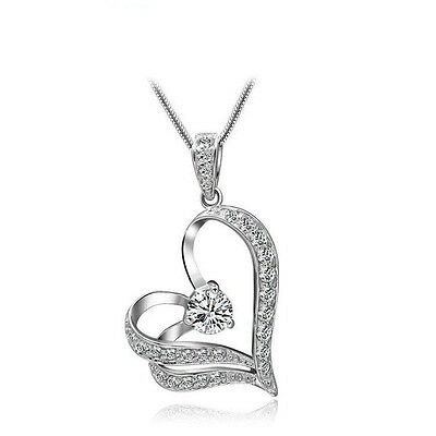 Women Heart Crystal Rhinestone Fashion Silver Chain Pendant Necklace Jewelry TR