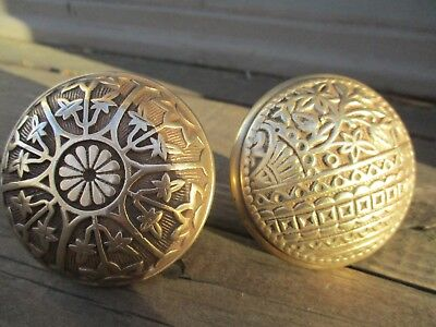 Lot Of 2 Old Vintage Victorian Solid Brass Door Knobs! Eastlake