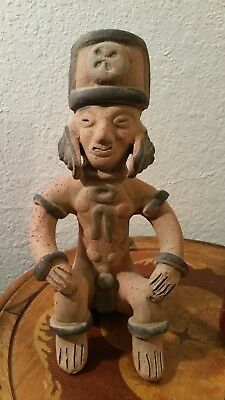 Vintage Mexican Aztec Mayan Pre-Columbian Clay Pottery Sitting Man Figure 8.5''