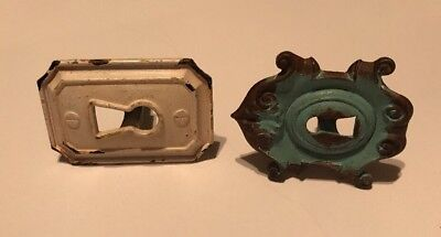 Two (2) KEYHOLE COVER PLATES FOR ANTIQUE VICTORIAN FURNITURE Painted Teal/White