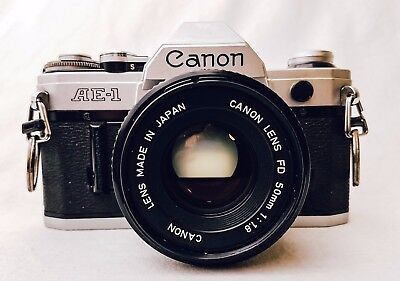 Canon AE-1 35mm SLR Film Camera with FD 50mm f1.8 lens
